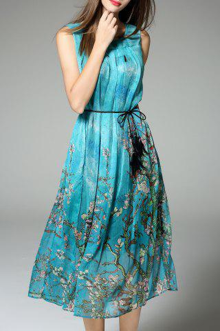 Unique Belted Sleeveless Print Dress