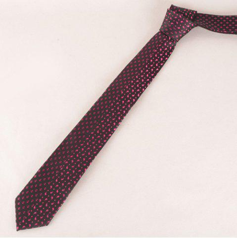 Latest Stylish Rose Color Small Rhombus and Paisley Jacquard Tie For Men