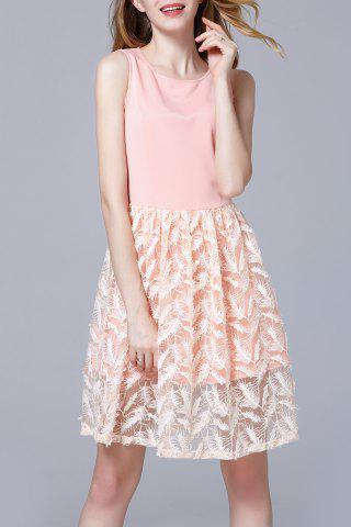Shops Round Collar Feather Embroidered Dress