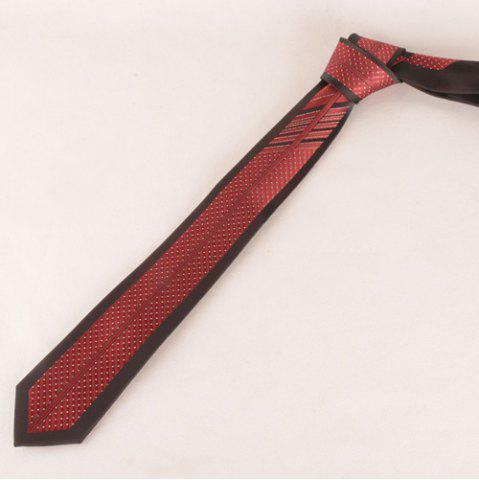 Sale Stylish Small Dot and Stripe Jacquard Red and Black Tie For Men