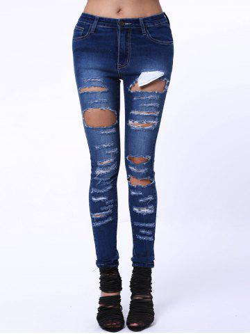 Sale Mid Waist Ripped Jeans DENIM BLUE XL
