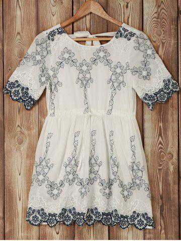 Shops Trendy Short Sleeve Hollow Out Embroidered Floral Pattern Women's Dress
