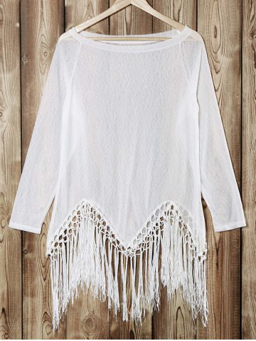 Fancy Stylish Scoop Neck Long Sleeve Tassels Knit Women's T-Shirt