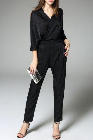 Hot Solid Color Blouse and Pants Twinset