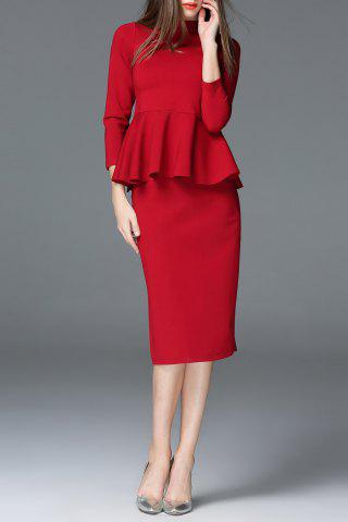 Cheap Stand Collar Wine Red Blouse and Skirt Twinset