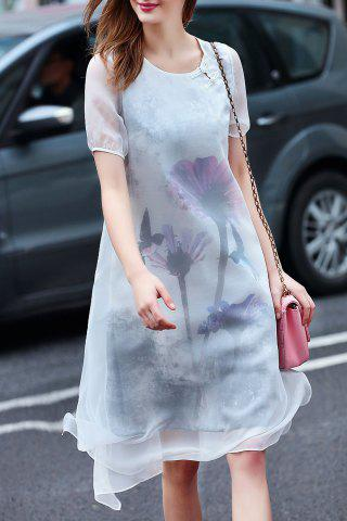 Chic Ethereal Round Neck Double-Layered Dress