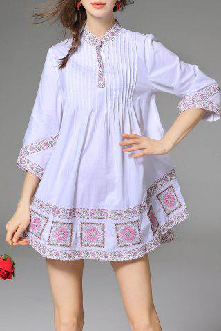 Affordable Embroidered Pleated Mini Dress