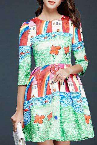 Fashion Printed Fit and Flare Flowy Dress