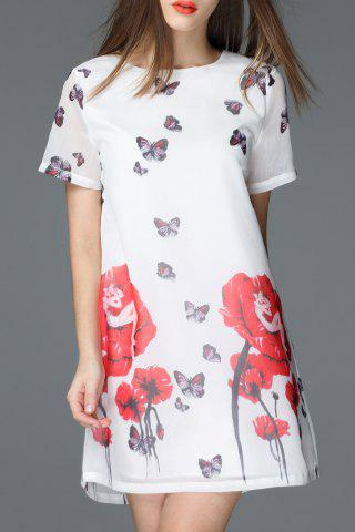 Store Round Collar Floral and Butterfly Print Dress