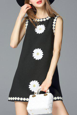 Chic Daisy Applique A Line Dress