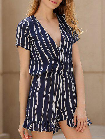 Buy Active Cross-Over Collar Short Sleeve Striped Women's Playsuit