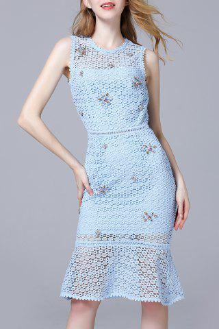 Unique Beaded Hollow Out Lace Mermaid Dress