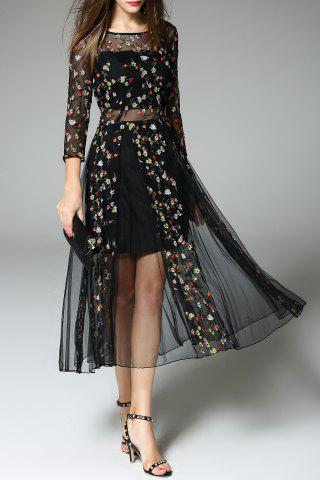 Hot Tiny Floral Embroidered Sheer Dress BLACK XL