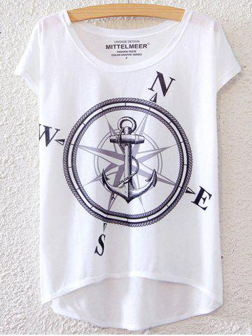 New Simple Style Women's Anchor Pattern Short Sleeve T-Shirt