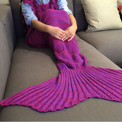 Exquisite Comfortable Drawstring Style Knitted Mermaid Design Throw Blanket - PURPLISH RED