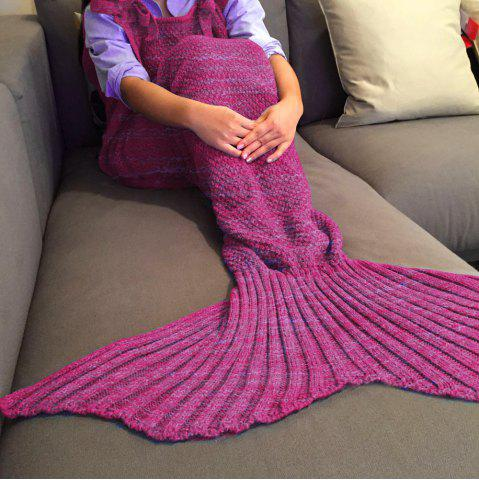 Outfits Exquisite Comfortable Drawstring Style Knitted Mermaid Design Throw Blanket ROSE