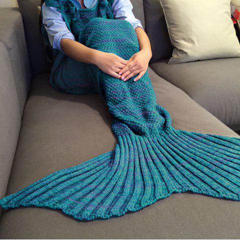 Exquisite confortable style Drawstring tricotée Mermaid design Throw Blanket Turquoise