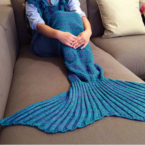Chic Exquisite Comfortable Drawstring Style Knitted Mermaid Design Throw Blanket