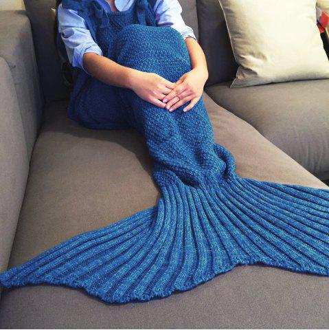 Exquisite Comfortable Drawstring Style Knitted Mermaid Design Throw Blanket - BLUE