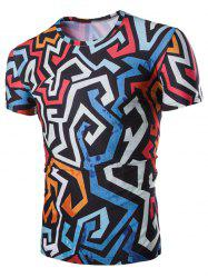 3D Irregularity Geometric Print Round Neck Short Sleeves T-Shirt For Men -