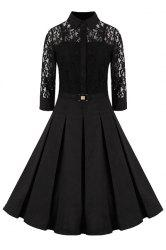 Elegant Shirt Collar 3/4 Sleeves Solid Color Lace Dress For Women -