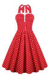 Halter Polka Dot 50s Vintage Dress - RED S