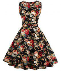 Floral Print Fit and Flare Homecoming Dress - COLORMIX S