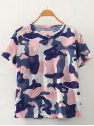 Simple Style Women's Camouflage Print Ripped Short Sleeve T-Shirt -