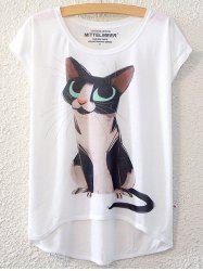 Simple Style Women's Kitten Pattern Short Sleeve T-Shirt -