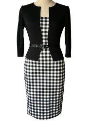 Three Quarter Sleeve Work Plaid Dress with Belt - WHITE AND BLACK