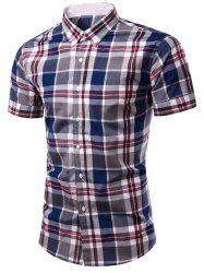 Fashion Plaid Printing Single Breasted Men's Shirt - CHECKED