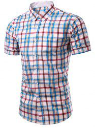 Stylish Plaid Printing Single Breasted Men's Shirt - CHECKED M