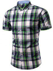 Stylish Checked Printing Single Breasted Men's Shirt - CHECKED M