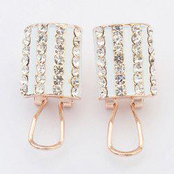 Pair of Rhinestone Alloy Geometric Earrings -