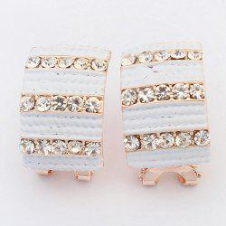 Pair of Alloy Rhinestone Geometric Earrings -