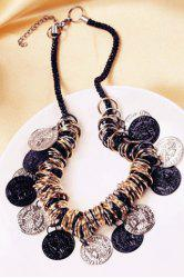 Chic Circles Carving Coin Tassel Necklace For Women -