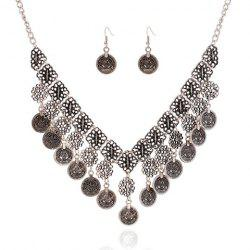 A Suit of Chic Flower Carving Coin Tassel Necklace and Earrings For Women -