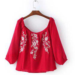 Off The Shoulder Embroidered Peasant  Blouse