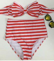 Vintage Striped Bowknot High Waisted Bikini Set For Women -