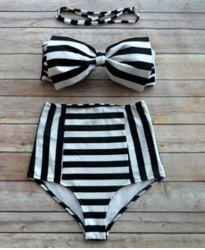 Striped Bowknot High Waisted Bandeau Bikini Set