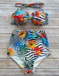 Vintage Zebra Print Bowknot Bikini Set For Women