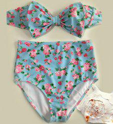 Floral Bowknot Bandeau Cute High Waisted Bikini Sets