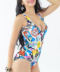 Stylish U Neck Print One-Piece Swimsuit For Women