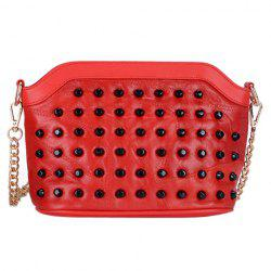 Sweet Rivets and Solid Color Design Crossbody Bag For Women -