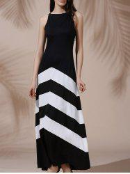 Halter Sleeveless Color Block Maxi Prom Evening Dress - WHITE AND BLACK