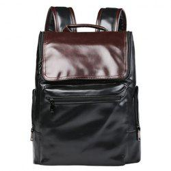 Preppy Style Color Block and Zip Design Backpack For Men - BLACK