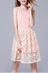 Round Collar Feather Embroidered Dress -