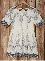 Trendy Short Sleeve Hollow Out Embroidered Floral Pattern Women's Dress -