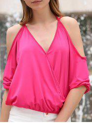 Stylish Plunging Neck Cold Shoulder Crossed T-Shirt For Women -