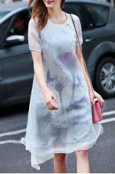 Ethereal Round Neck Double-Layered Dress -